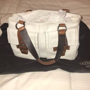 White Leather coach shoulder bag
